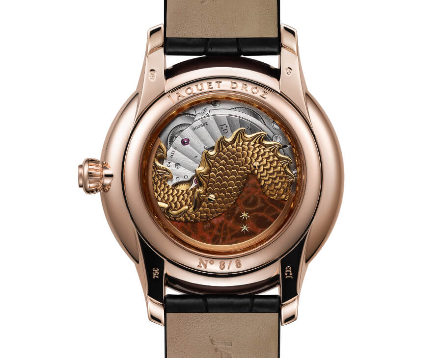 Jaquet Droz Petite Heure Minute Relief Dragon In House Movement