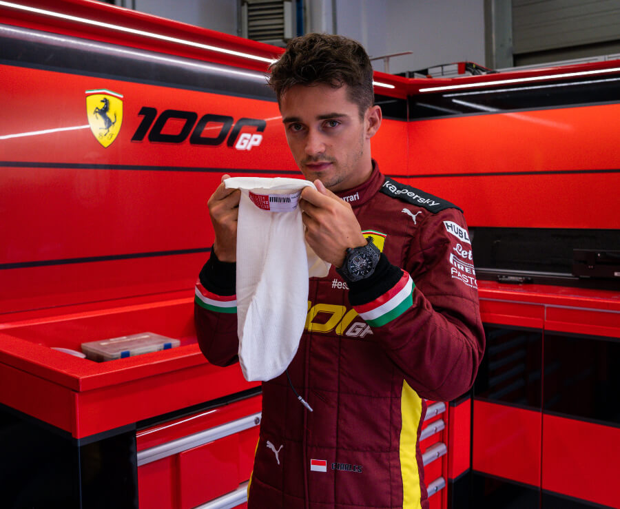 Charles Leclerc wearing the Hublot Big Bang Ferrari 1000 GP in carbon ceramic Watch