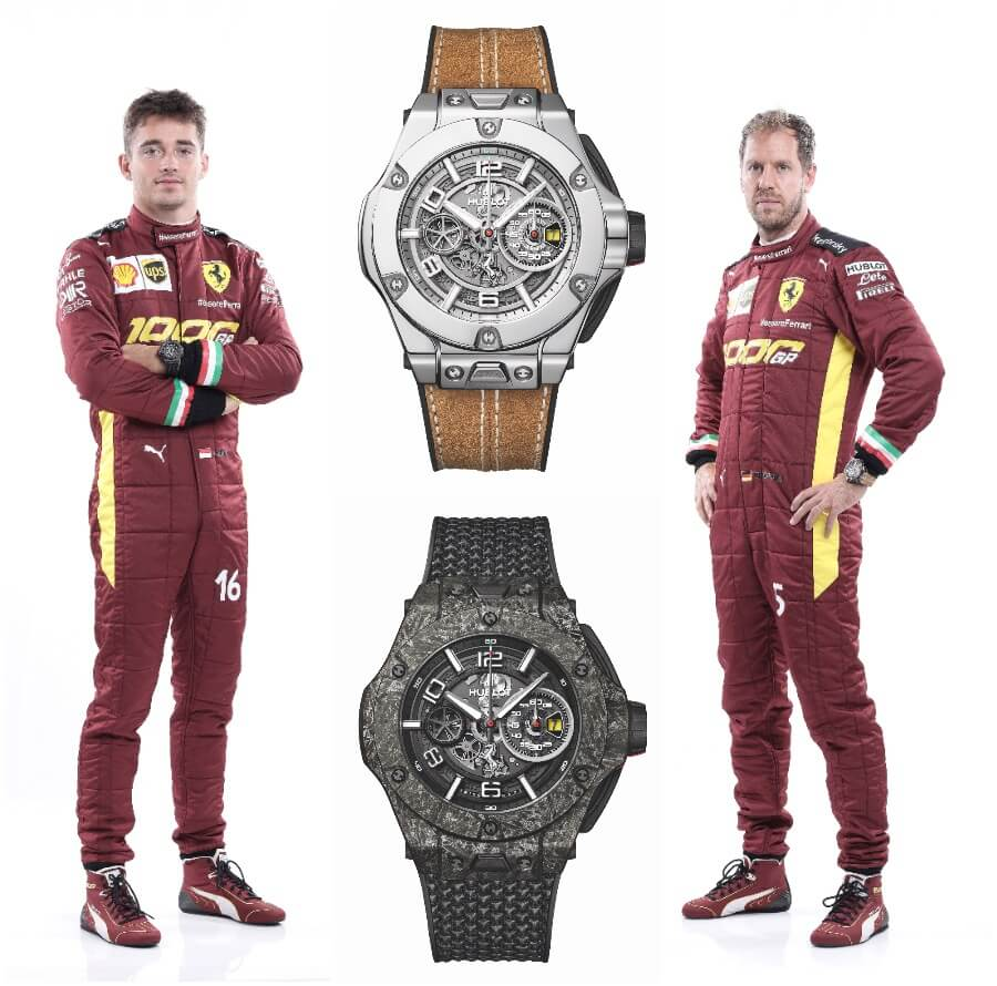 Charles Leclerc and Sebastian Vettel with the Hublot Big Bang Ferrari 1000 GP