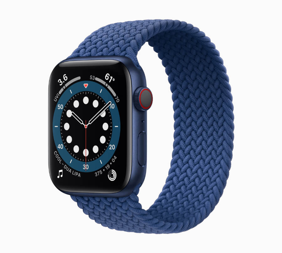 Apple Watch Series 6 with the distinct Braided Solo Loop and blue aluminum case