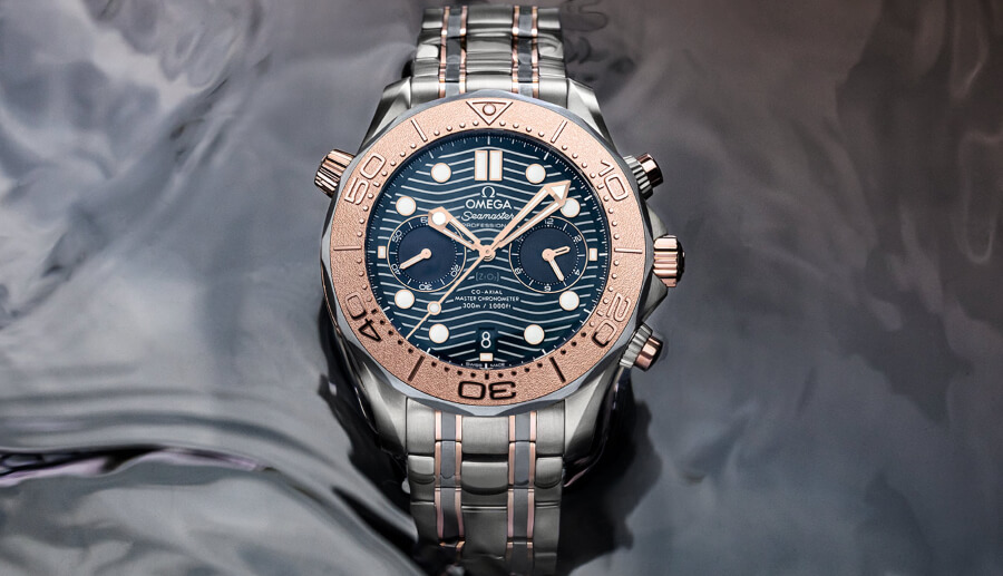 Omega Seamaster Diver 300M Chronograph 44 mm in Sedna Gold, Titanium and Tantalum Watch Review