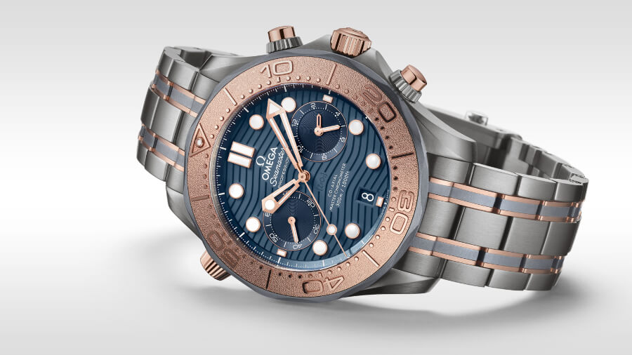 The New Omega Seamaster Diver 300M Chronograph 44 mm in Sedna Gold, Titanium and Tantalum