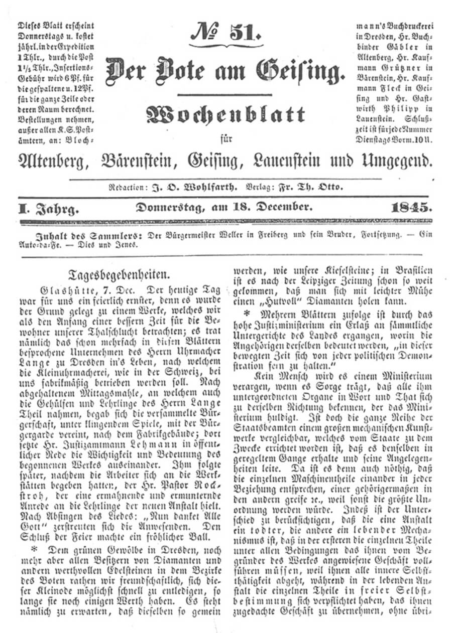 Historic press article of 1845 about the foundation of the Glashutte watch industry