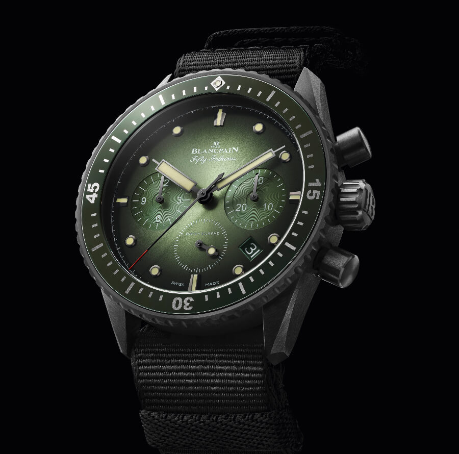 Blancpain athyscaphe Chronographe Flyback Green Dial Ref 5200-0153-NABA and 5200-0153-B52A