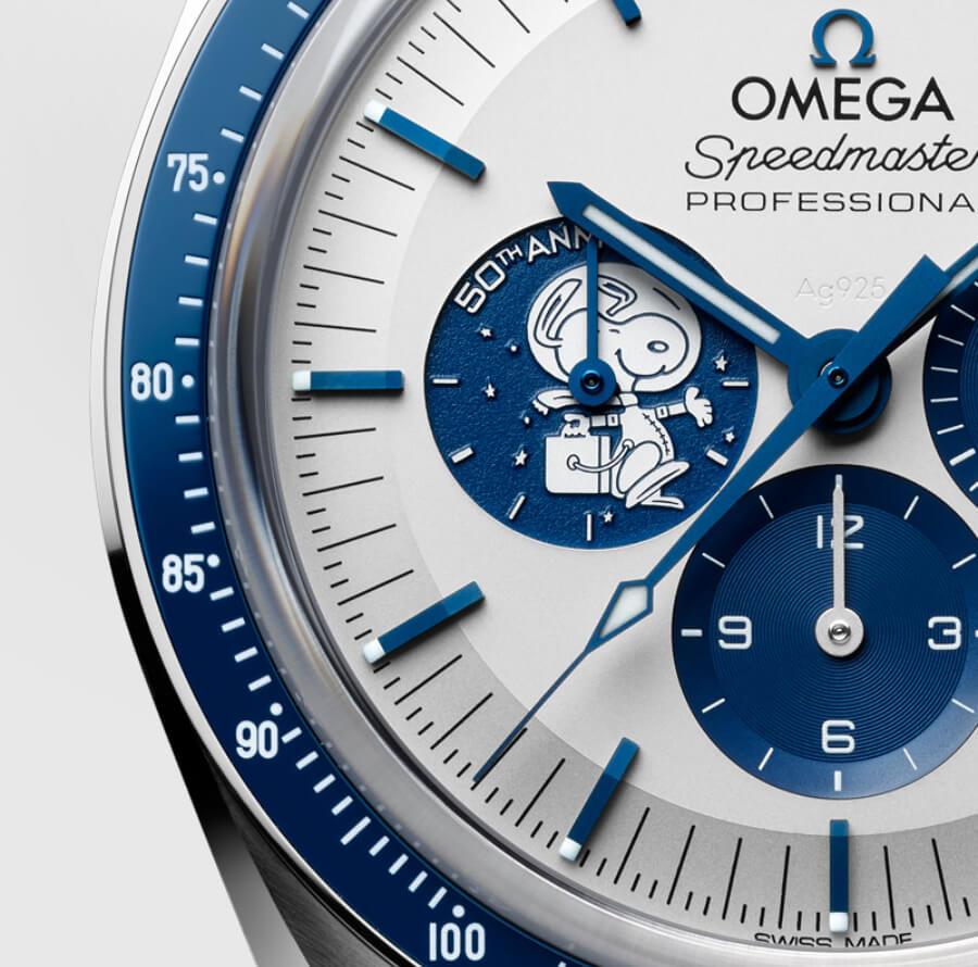 "Omega Speedmaster ""Silver Snoopy Award"" 50th Anniversary dial"