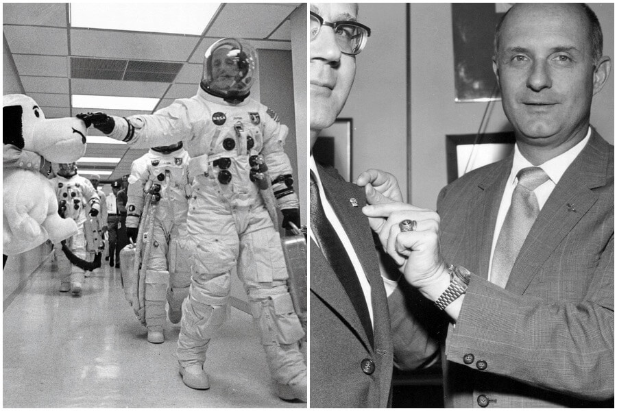 Commander Thomas Stafford pats Snoopy's nose for good luck before the Apollo 10 mission