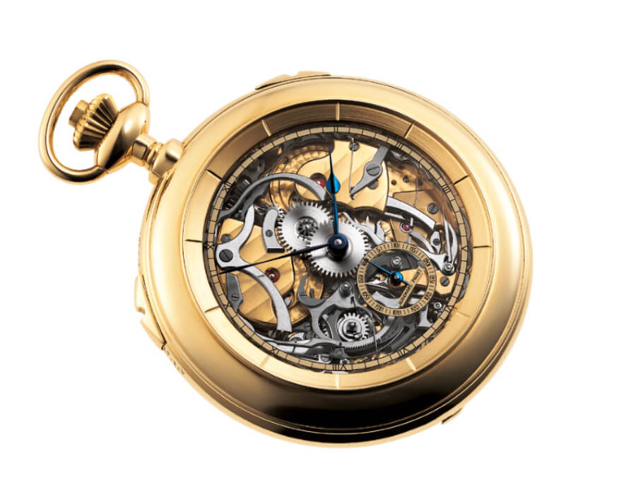 Yellow gold Grande Sonnerie pocket watch with sapphire dial and caseback crafted by Philippe Dufour for Audemars Piguet in 1987. Audemars Piguet Heritage Collection, Inv. 0389