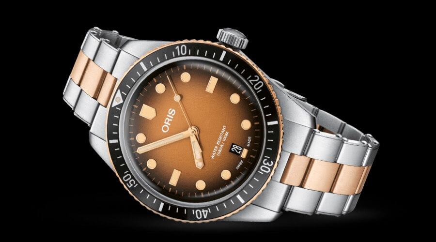 Men Watches Oris Divers Sixty-Five Brown Gradient Dial