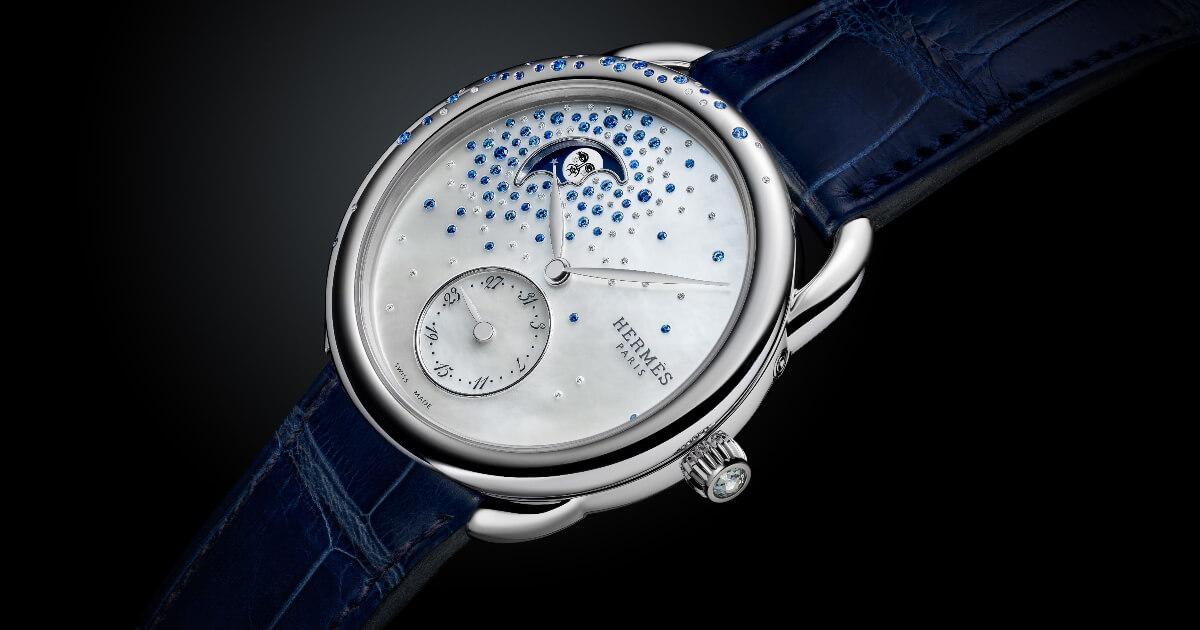 Hermes Arceau Petite Lune Jeté De Diamants Et Saphirs (Price, Pictures and Specifications)