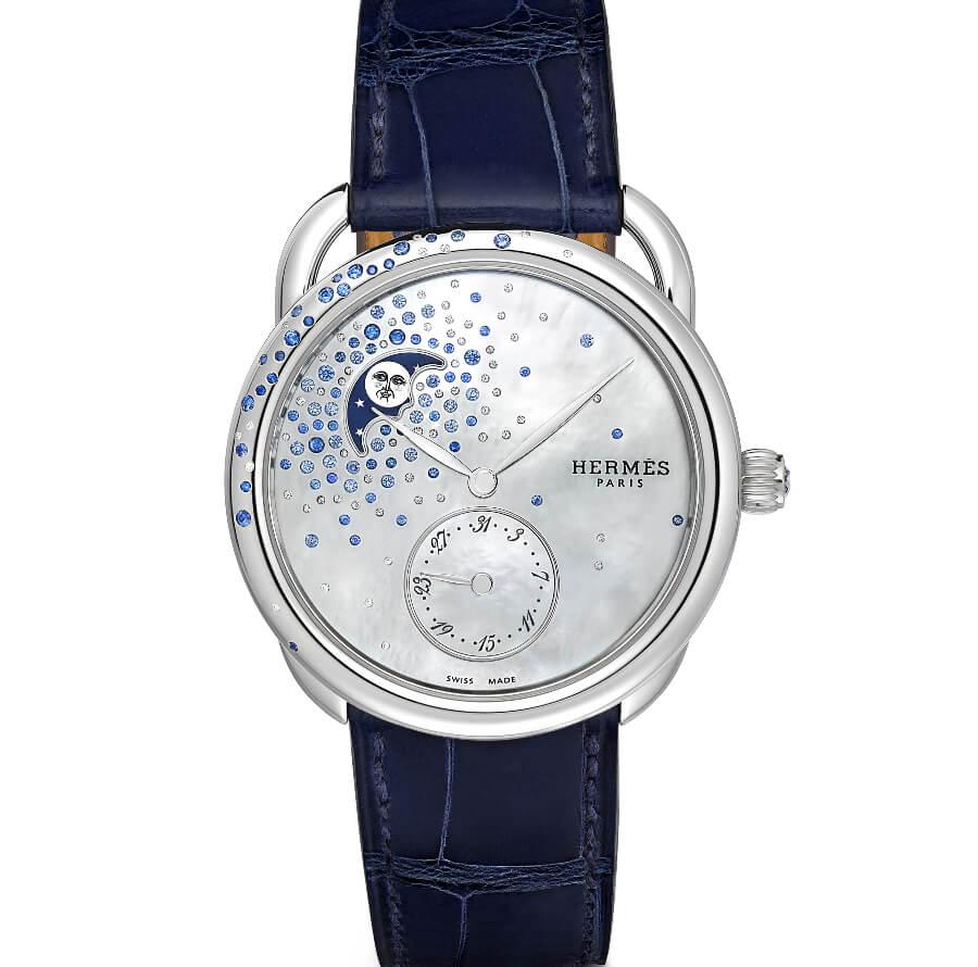 Hermes Arceau Petite Lune Jeté De Diamants Et Saphirs