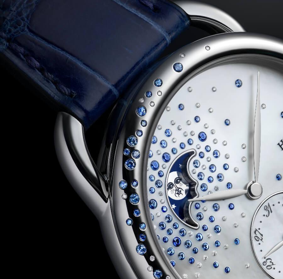 Hermes Arceau Petite Lune Jeté De Diamants Et Saphirs Watch
