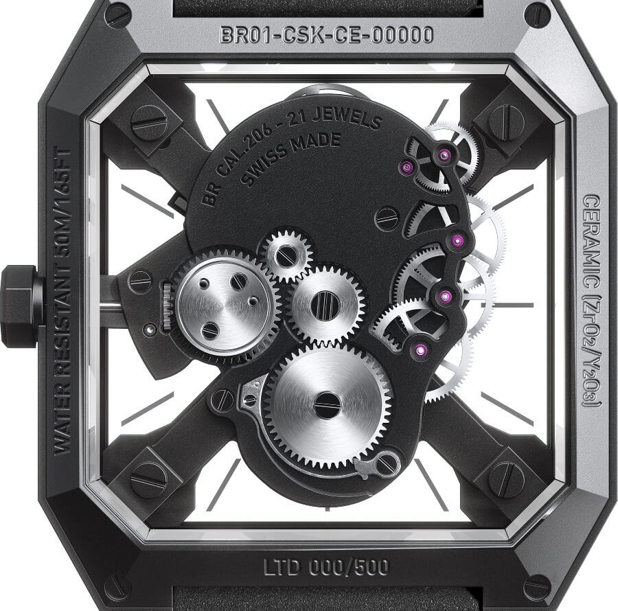Bell & Ross BR 01 Cyber Skull Ref. BR01-CSK-CE/SRB  In House Movement