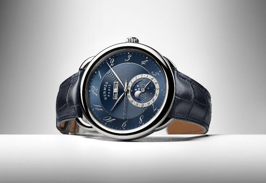 Review Hermes Arceau Grande Lune Blue Dial Watch
