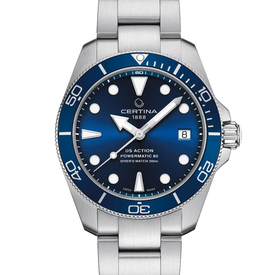 Men Certina DS Action Diver 38 MM Blue Dial