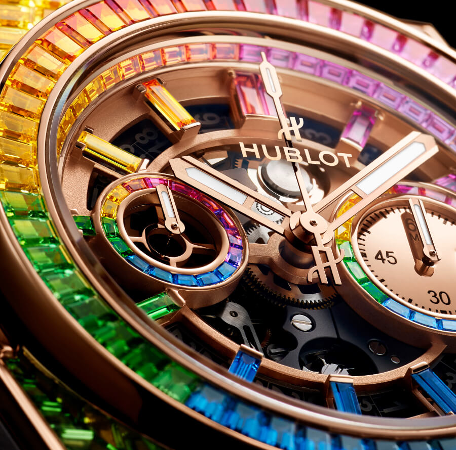 Hublot Big Bang Unico Full Baguette King Gold Rainbow Dial