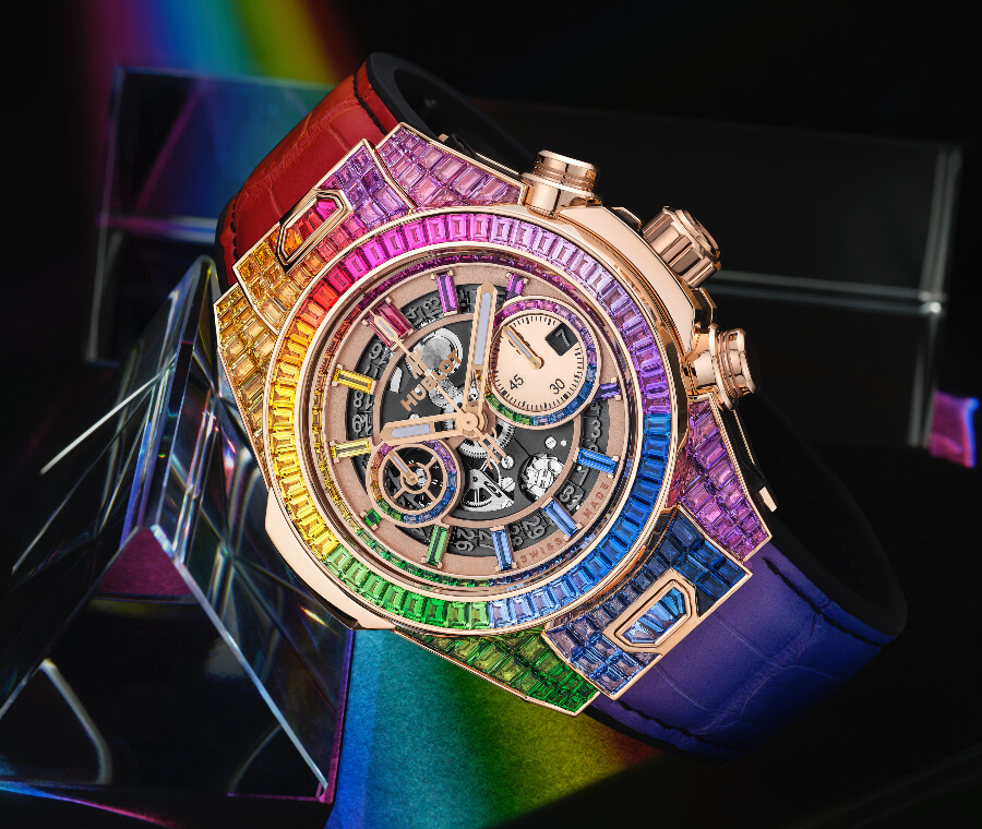 Hublot Big Bang Unico Full Baguette King Gold Rainbow Ref. 411.OX.9099.LR.9999