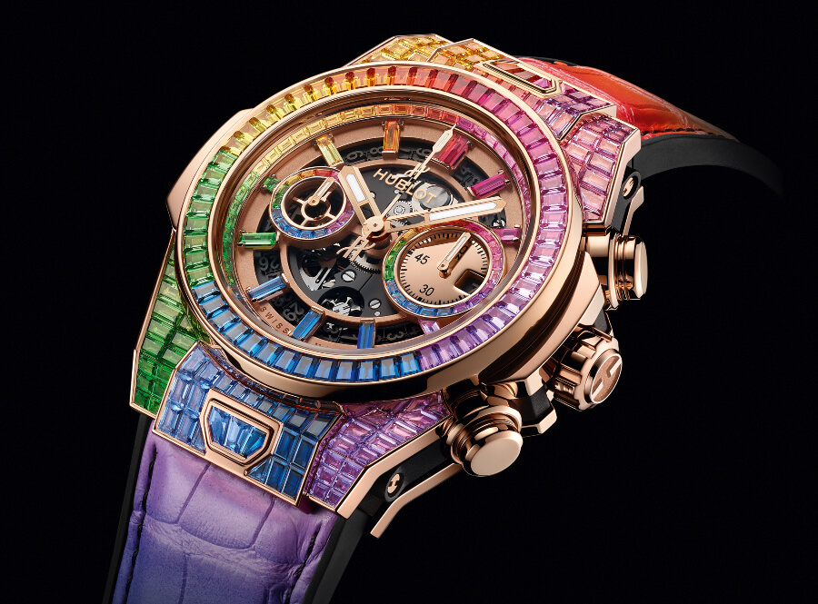 Review Hublot Big Bang Unico Full Baguette King Gold Rainbow Ref. 411.OX.9099.LR.9999