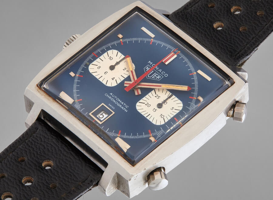 the iconic Heuer Monaco worn by Steve McQueen in the film Le Mans