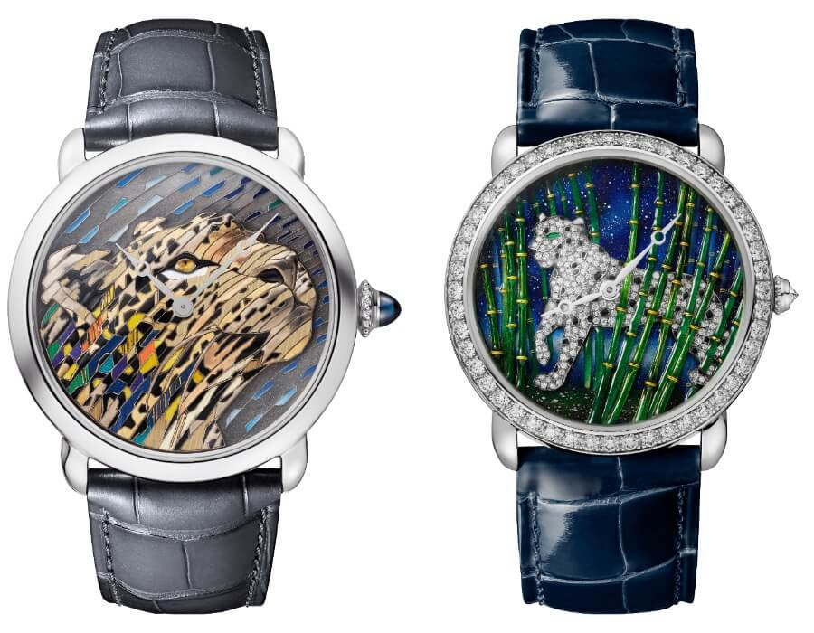 Cartier Ronde Louis Cartier Straw And Gold Marquetry and Cartier Ronde Louis Cartier Enamel Filigree Watch