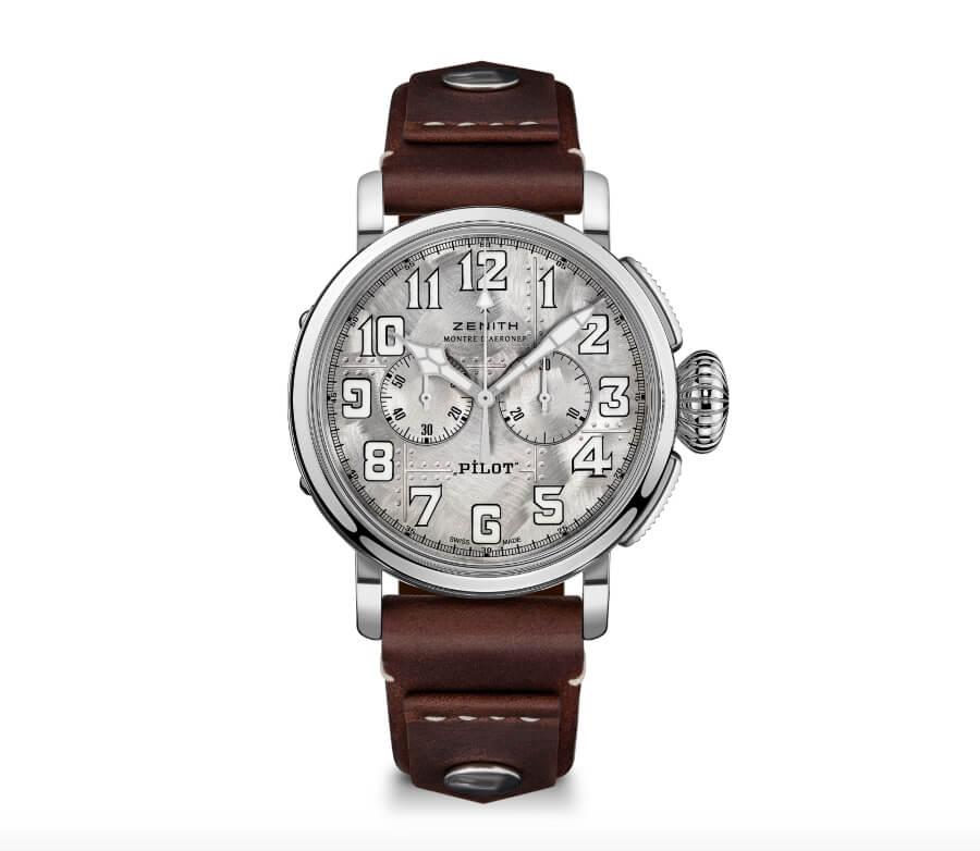 Men Watches Zenith Pilot Type 20 Silver Chronograph