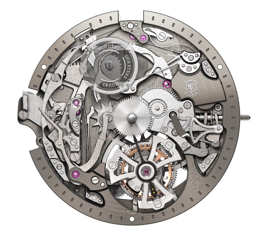 RD107 caliber, Mechanical automatic with minute repeater and single flying tourbillon