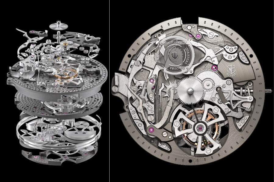 Roger ibis RD107 caliber, Mechanical automatic with minute repeater and single flying tourbillon
