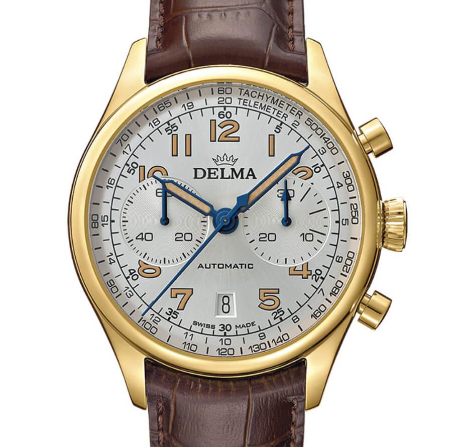 Delma chronograph gold watch
