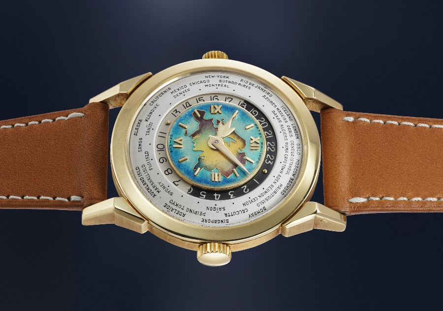 Patek Philippe Reference 2523 With with Cloisonné Enamel Dial representing the Eurasian Landmass