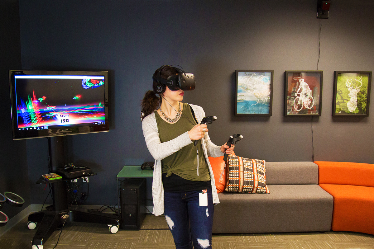 Testing out the HTC Vive Virtual Reality system in the Seattle Synapse Product Development office. Synapse helped developed this VR Tracking System with Valve Software.