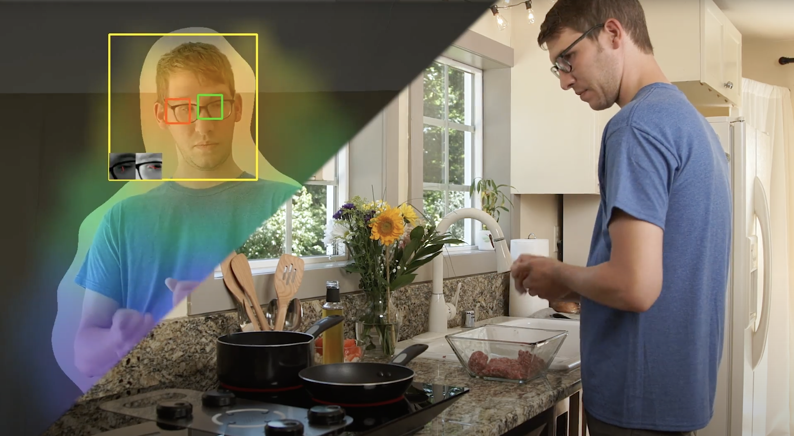 Right side of image shows a person cooking on the Hobgoblin cooktop; left shows the Hobgoblin gaze tracking system finding the person's eyes and using the neural network-based computer vision algorithms to determine gaze direction and triangulate which burner is being looked at.