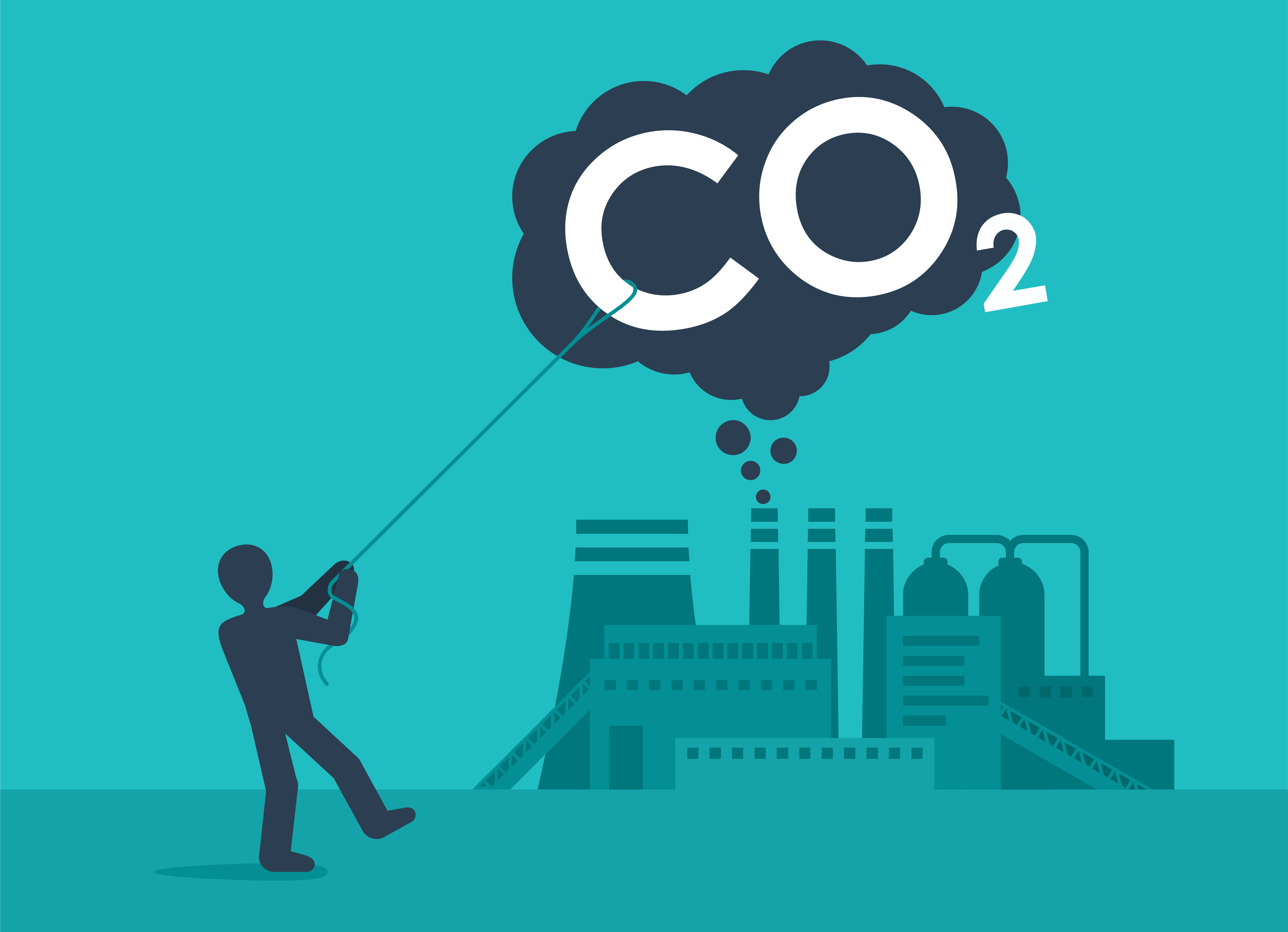 Person capturing carbon dioxide with a lasso as it comes out of a factory.