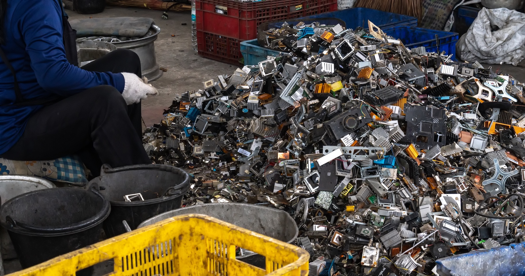 Scrap yard of electronic waste for recycling.