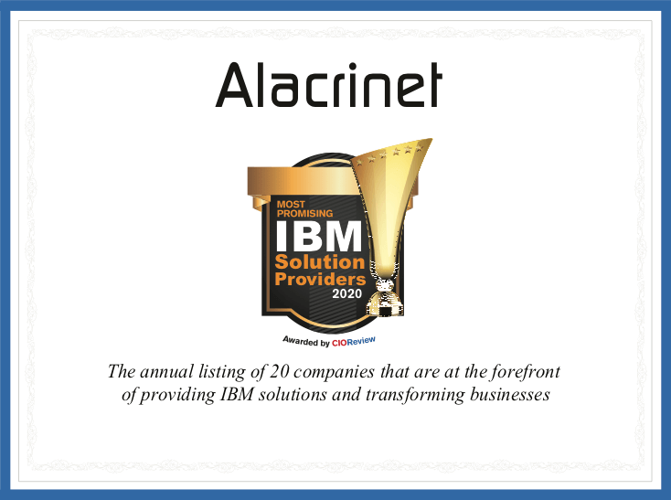 CIO Review certificate for Alacrinet - Top 20 most promising IBM solution providers of 2020