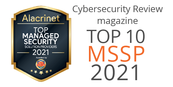 Cybersecurity Review Magazine Top 10 Managed Security Solution providers of 2021 award