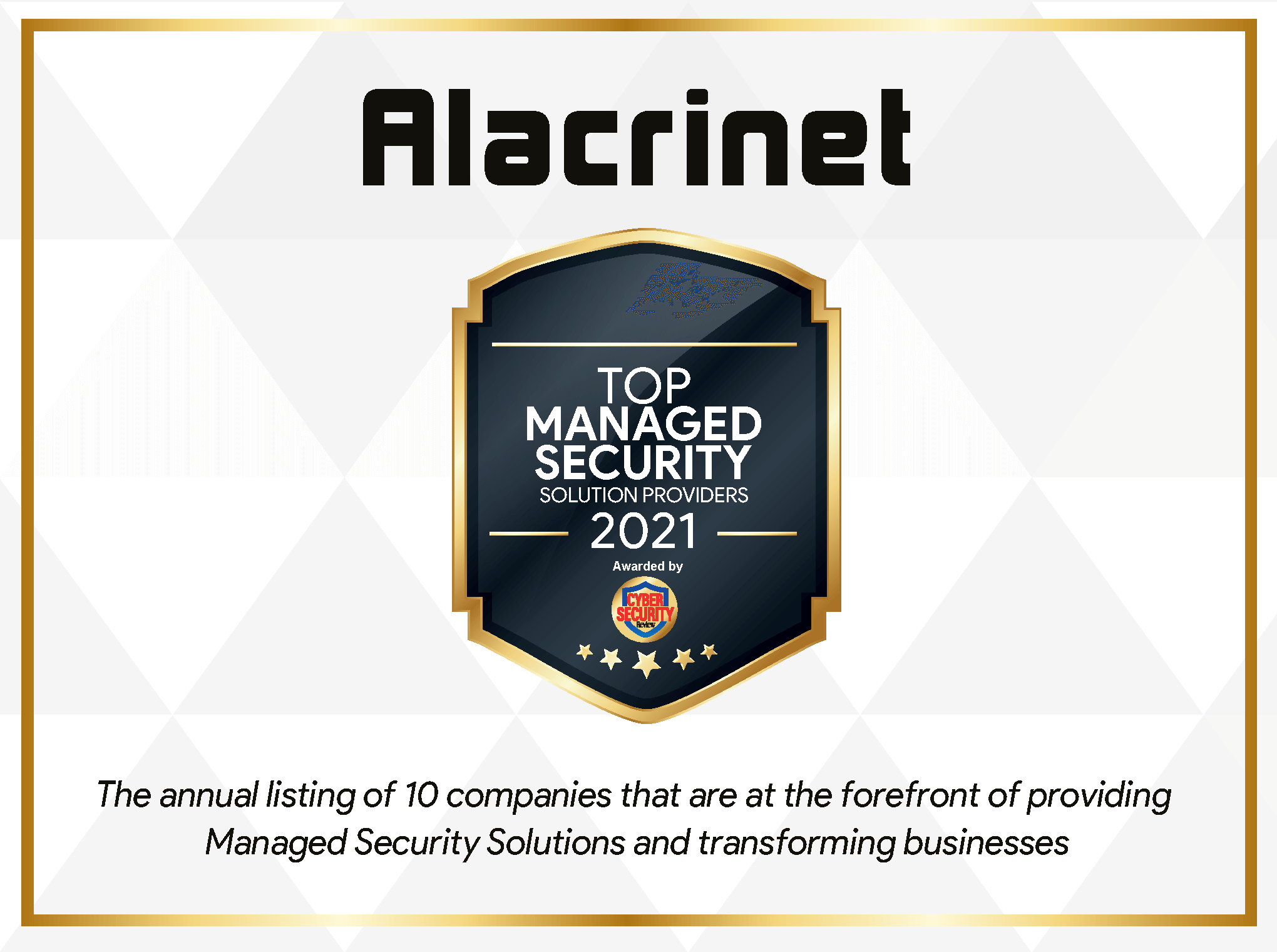 Certificate of recognition - Alacrinet is one of the Top 10 Managed Security Solution Providers of 2021