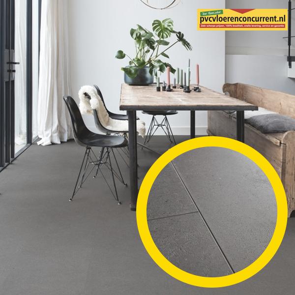 Vibrant Mediumgrijs vloer voorzien van 4 groeven