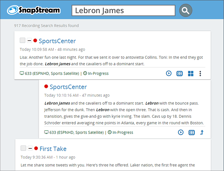 SnapStream TV Search: Lebron James