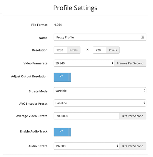 SnapStream profile settings