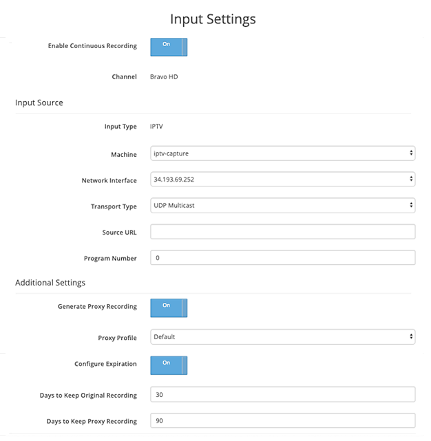 SnapStream input settings
