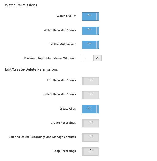 SnapStream granular user permissions