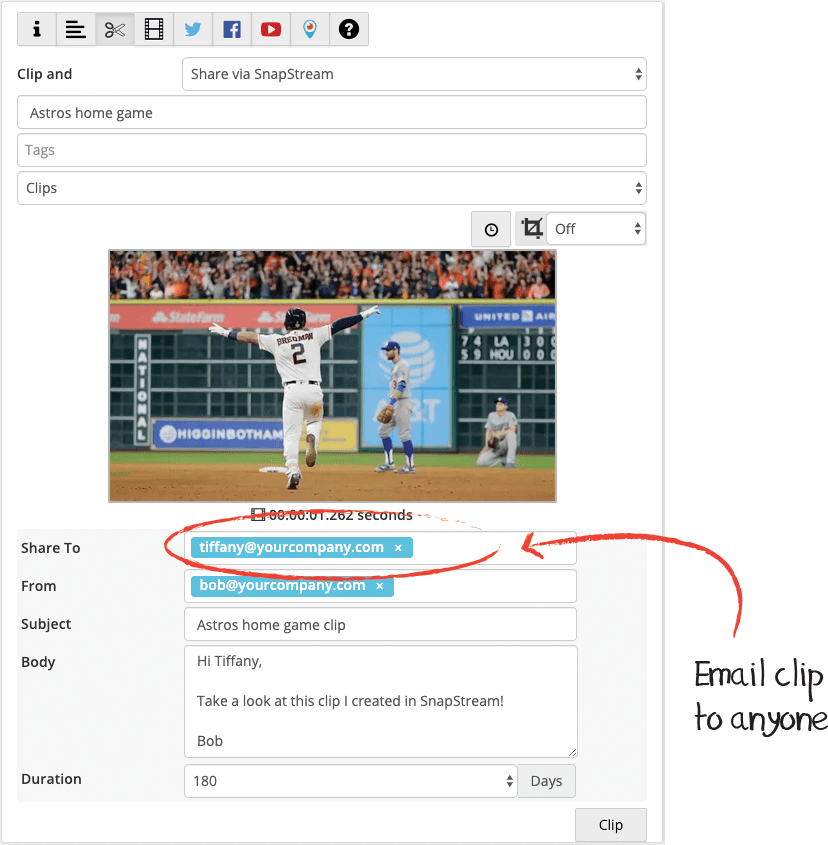 Email TV clips with SnapStream