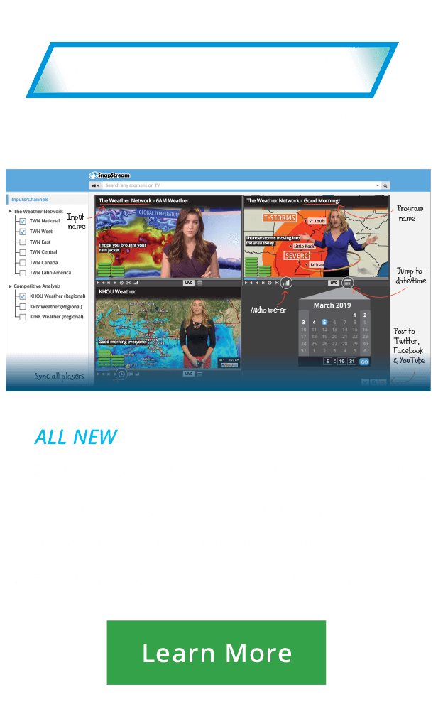 SnapStream: 24x7 transport stream ingest for continuous logging, SCTE=35 message monitoring & display, Nielsen audio watermark monitoring and audio meters & CALM Act compliance