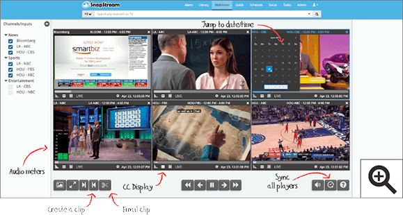 SnapStream Multiviewer: TV monitoring and compliance