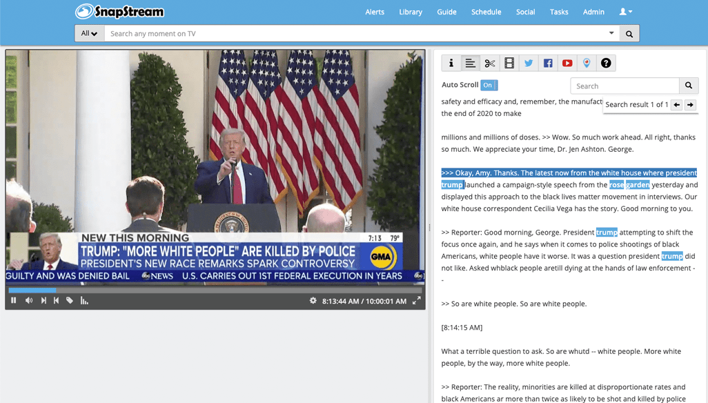Trump Rose Garden Search - SnapStream
