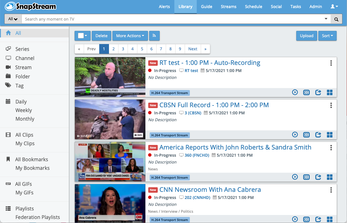 With managed TV, SnapStream can manage your TV sources so you can focus on recording, searching, clipping, and publishing newsworthy moments.