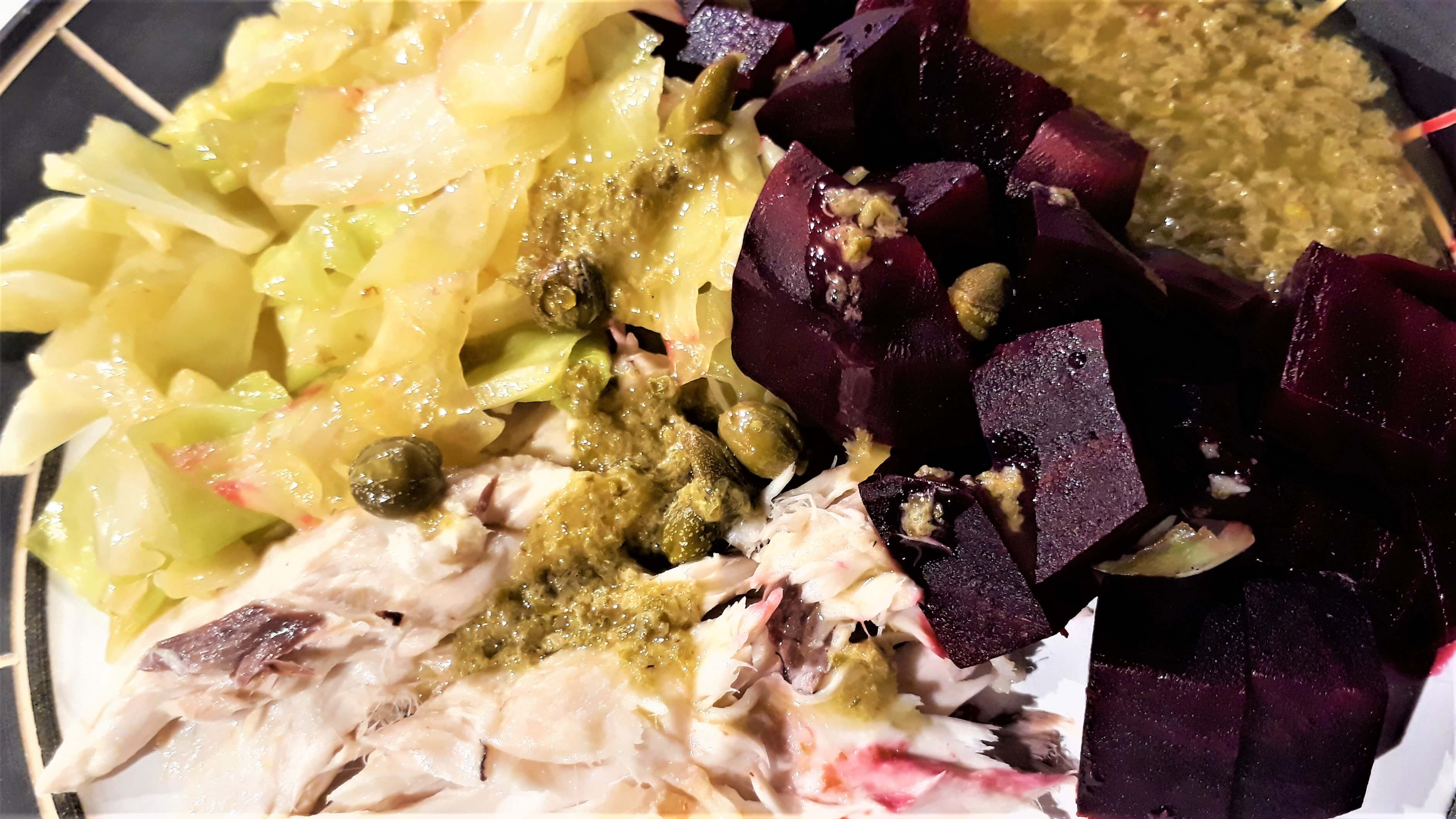 Warm salad with smoked kahawai
