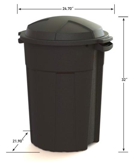 32 Gallon Outdoor Trash Can