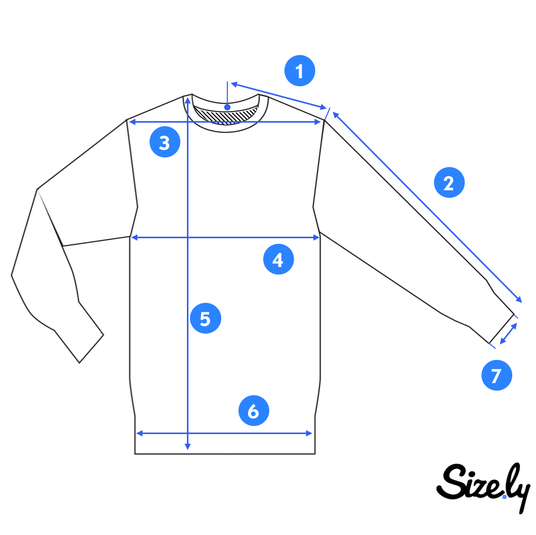 picture of a of sweatshirt for taking measurements