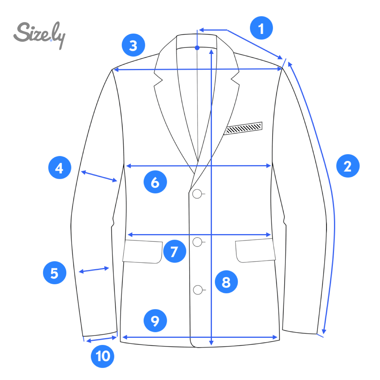 Blazer jacket measurement areas