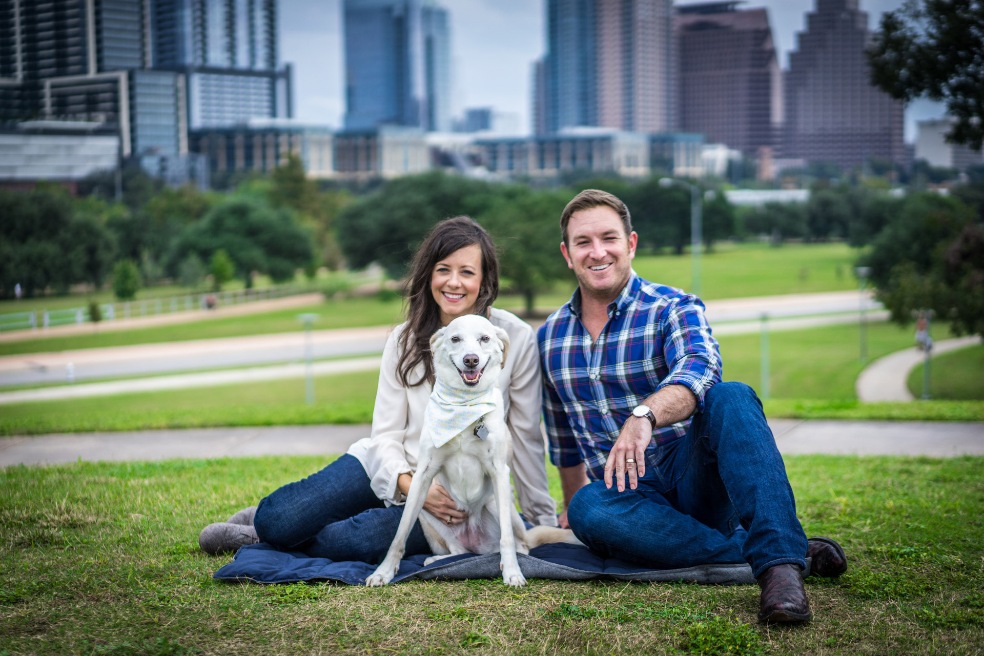 Family Portrait with Pet Dog in Downtown Austin